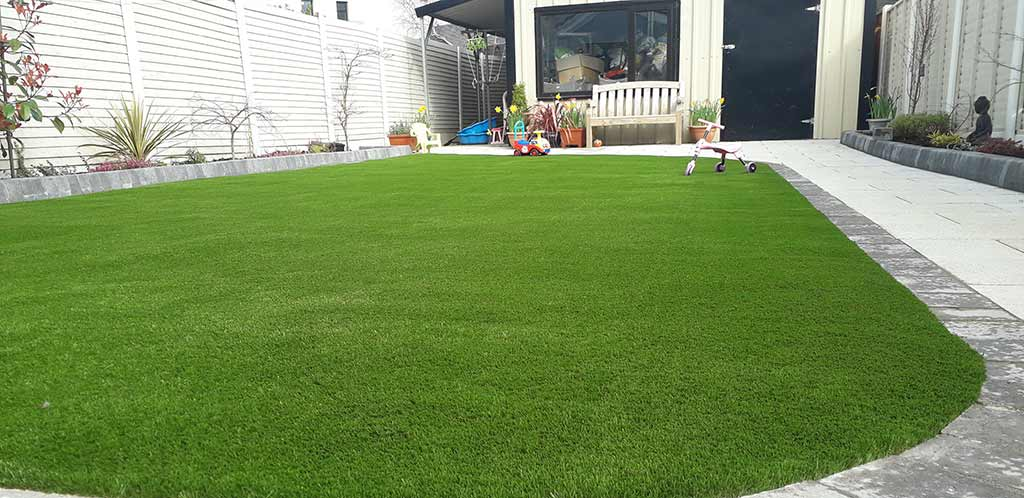 Back garden with Artificial Grass in County Cork