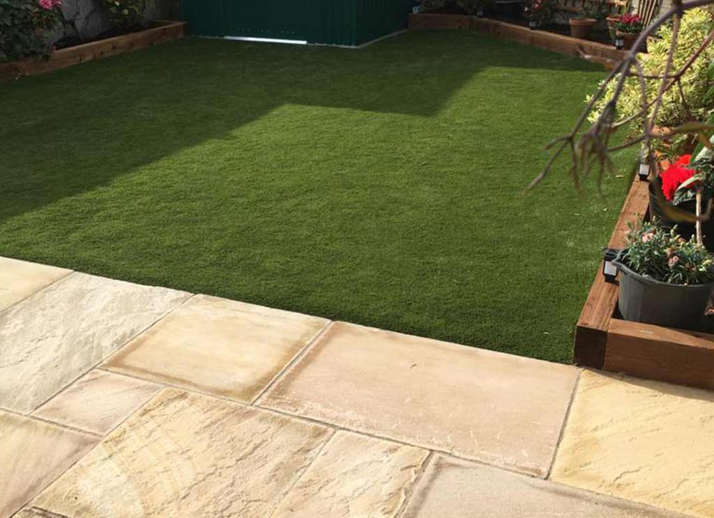 Back Garden with Paving and Artificial Grass Lucan Co Dublin