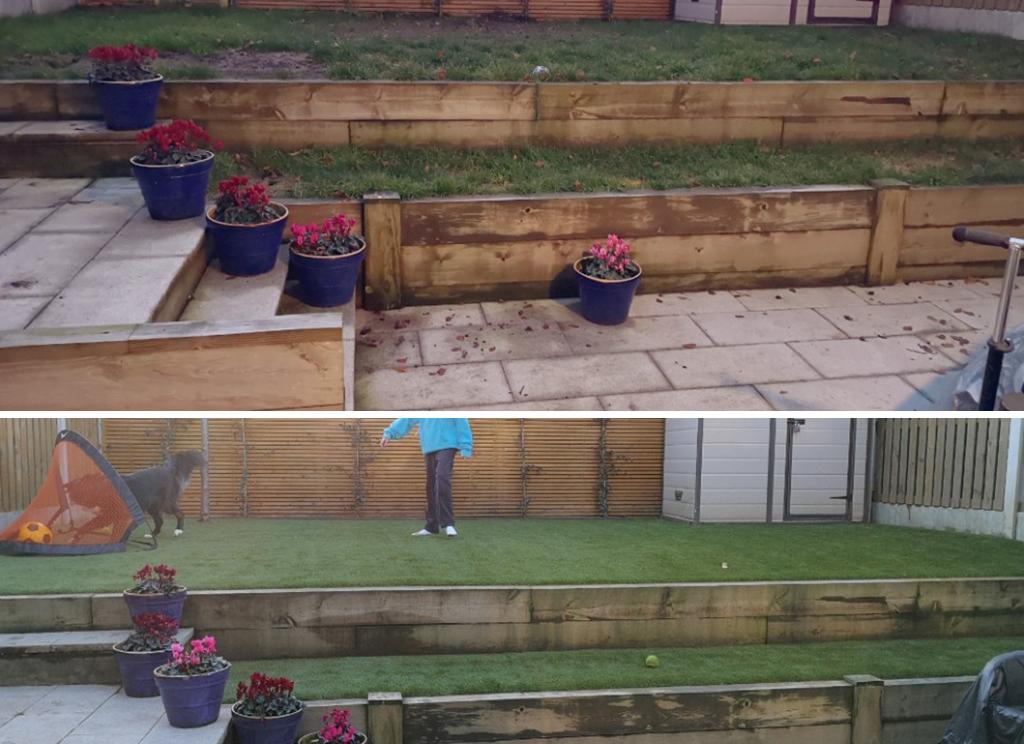 Before & After False Grass Garden Carrickmines Dublin